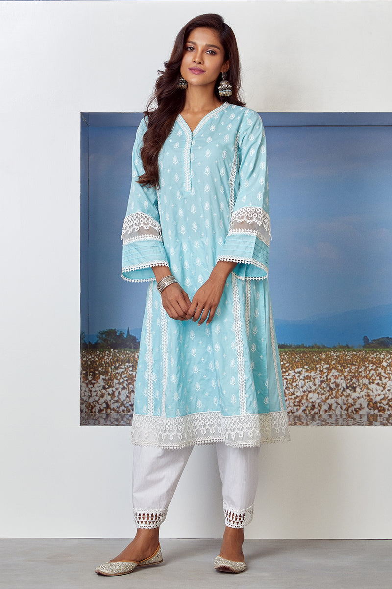 Mulmul Cotton Lakeshore Kurta With Slim Salwar