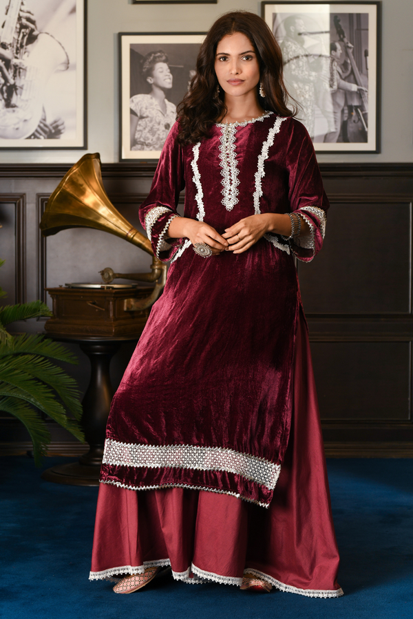 Makhmal Birch Kurta with Pine wine Sharara