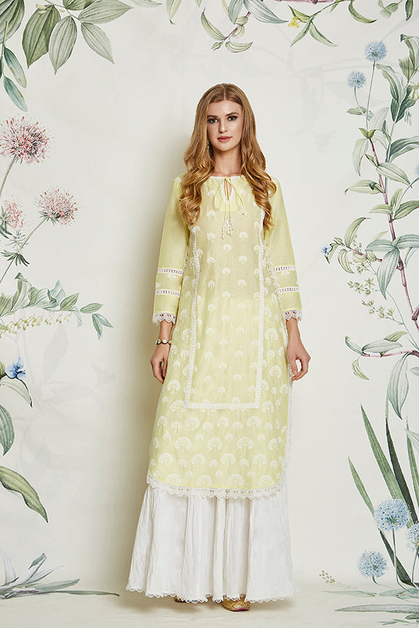 Mulmul Snowdrop Yellow Kurta with Garara