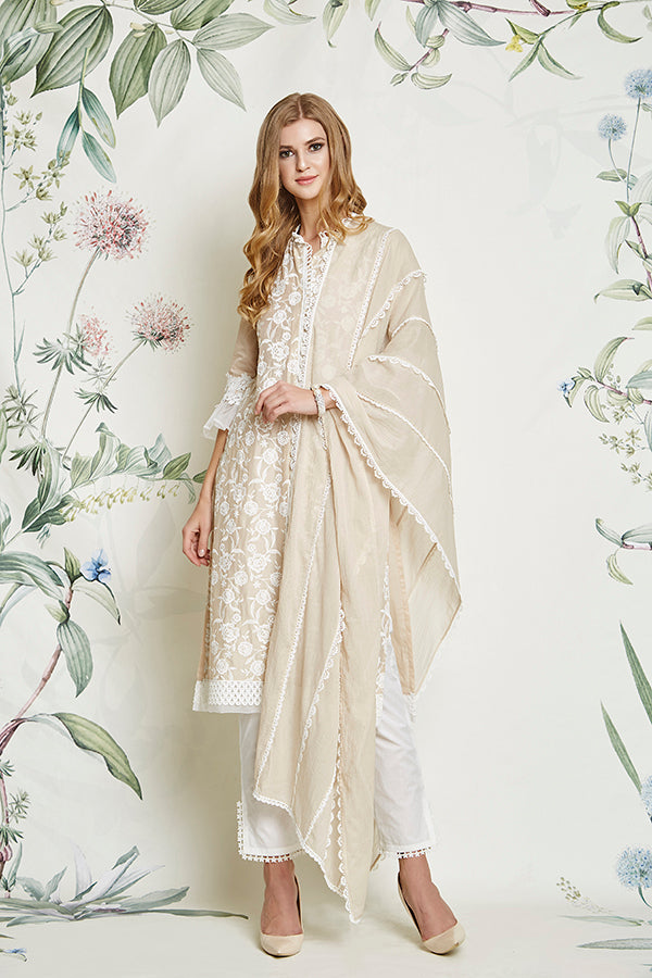 Mulmul Rose Beige Kurta with Slit Pants