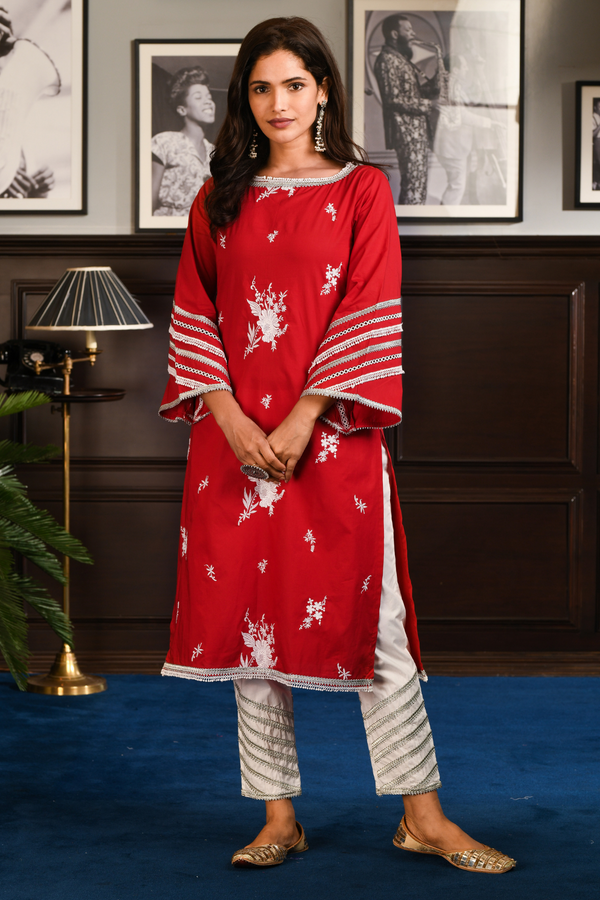 Mulmul Cotton MABBINA Kurta With GOTA DAIGONAL PANT