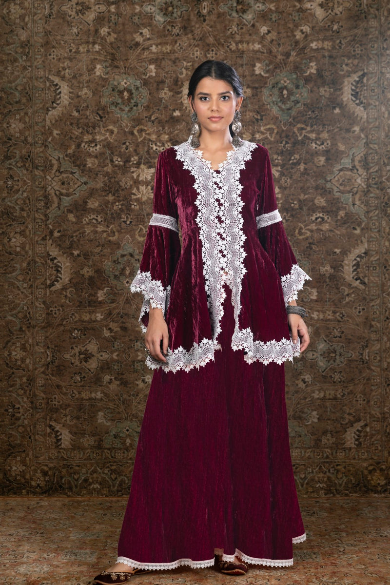 Makhmal Pine Kurta with Sharara