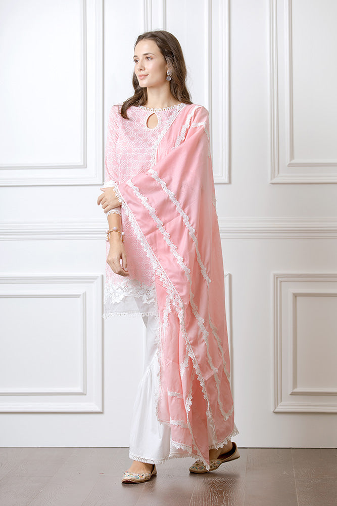 Mulmul Clover Pink Kurta With Hazel Bellbottoms