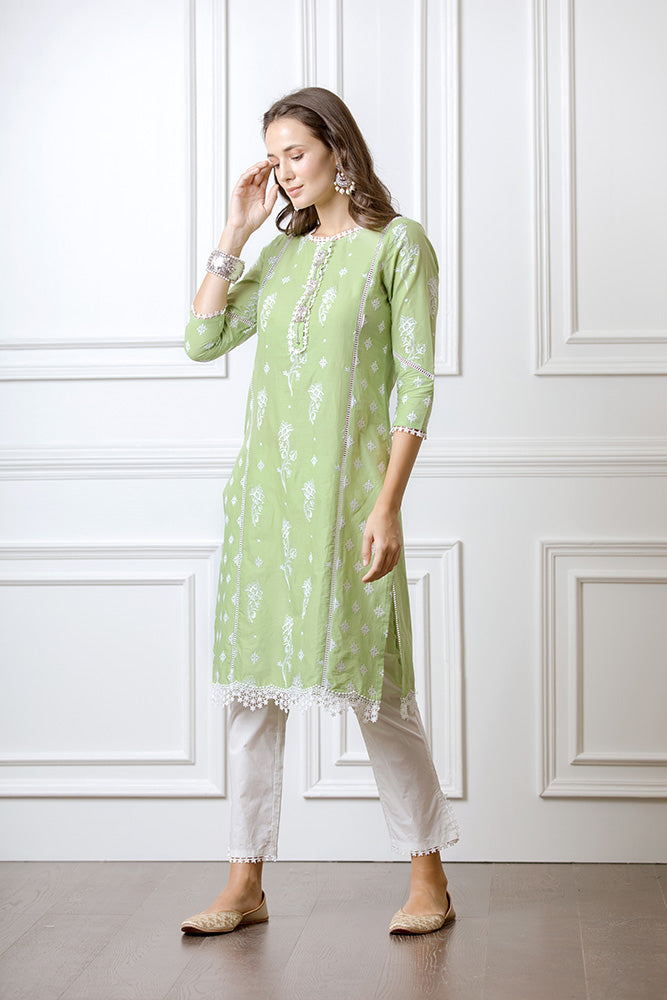 Mulmul Rue Green Kurta with Slit Pants