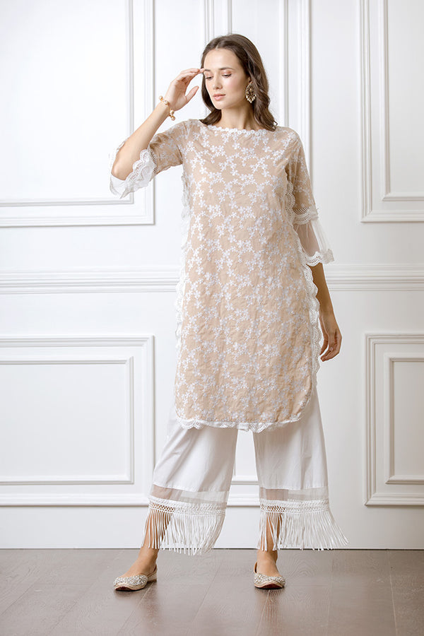 Mulmul Rosella Beige Kurta with Poppy Pants