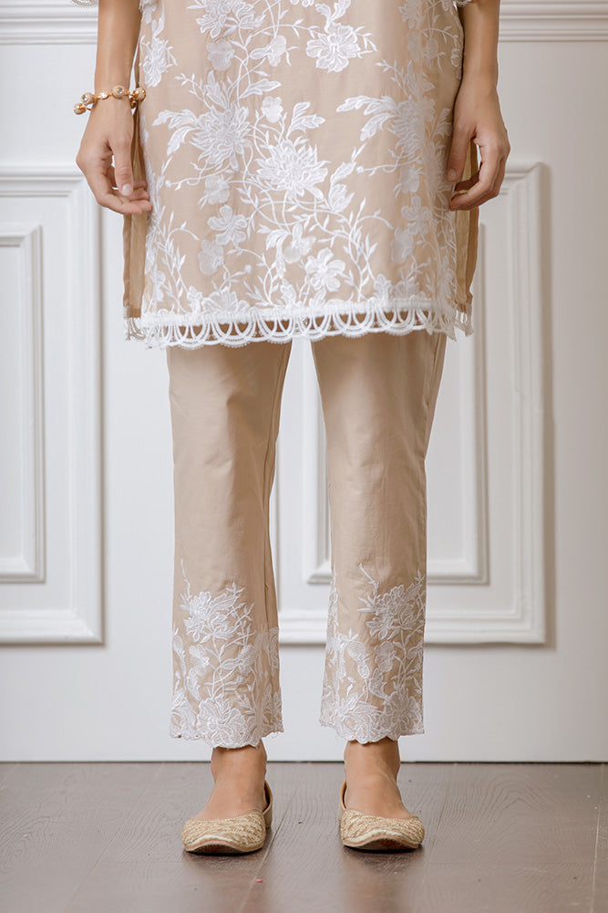 Mulmul Cecilia Beige Kurta with Floral Embroidered Pyajamas