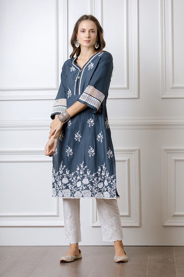 Mulmul Amber Navy Kurta with Floral Embroidered Pyajamas