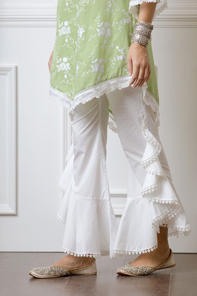 Mulmul Danica Green Kurta with Frill Bellbottoms