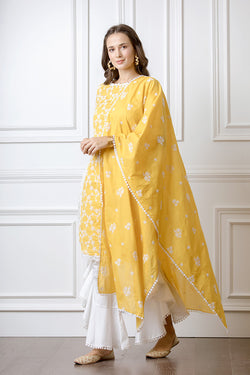 Mulmul Rosella Mango Kurta with Frill Bellbottoms