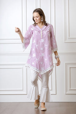 Mulmul Danica Lilac Kurta with Pleated Bellbottoms