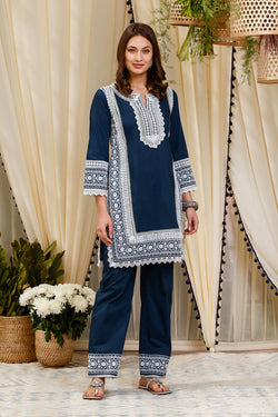 Mulmul Cotton Elda Kurta With Elda Pants