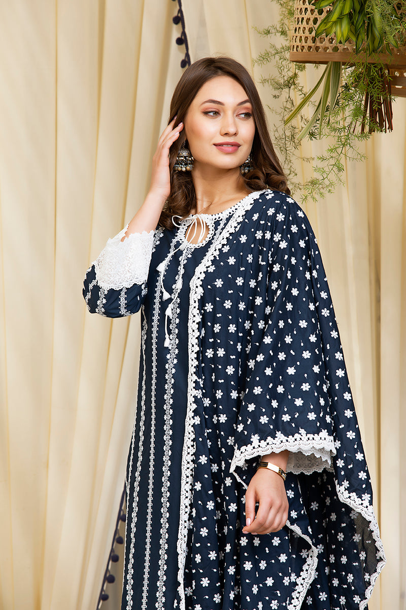 Mulmul Cotton Gianna Kurta  With Net Dhoti