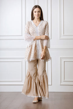 Mulmul Hazel Beige Top with Hazel Bellbottoms