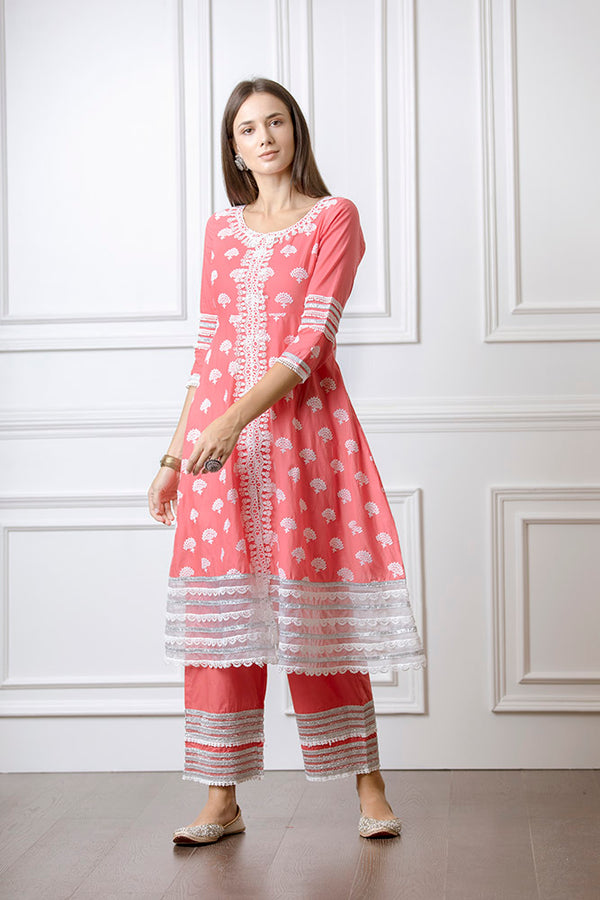 Mulmul Lotus Red Anarkalli with Lotus Pallazo