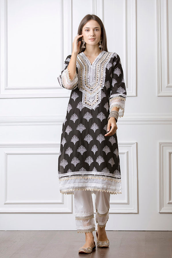 Mulmul Maple Black Kurta with Maple Pyajama