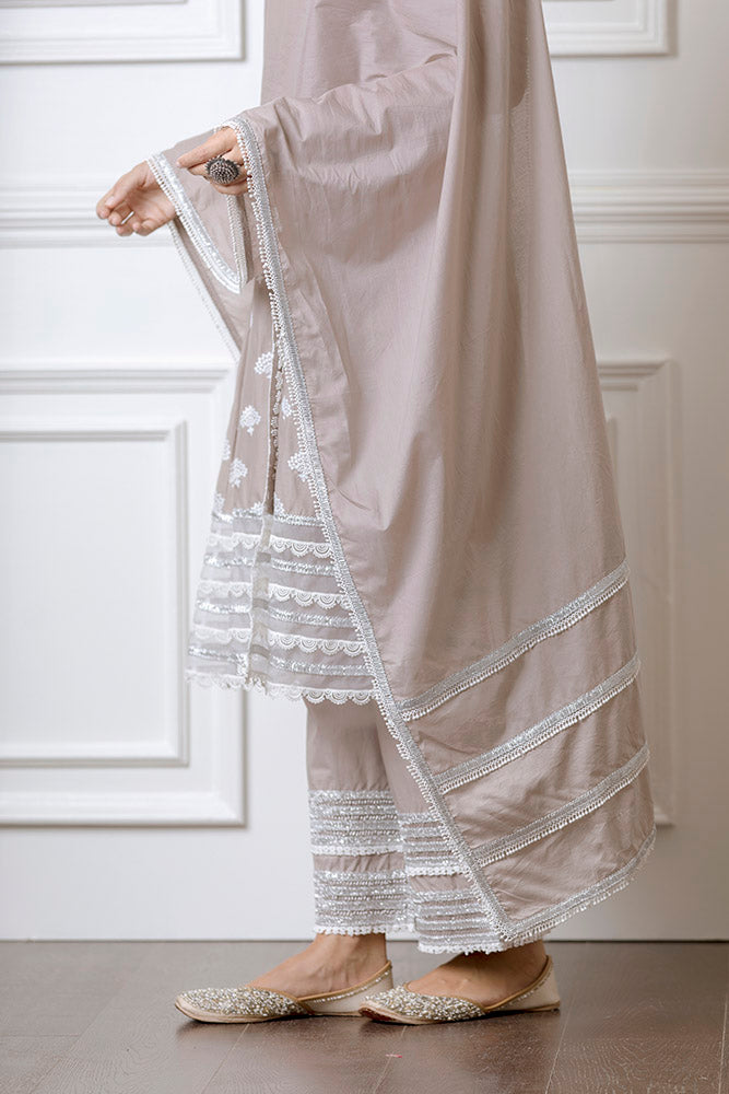 Mulmul Lotus Grey Anarkalli With Lotus Pallazo