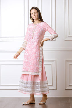 Mulmul Flora Pink Kurta with Gota Skirt