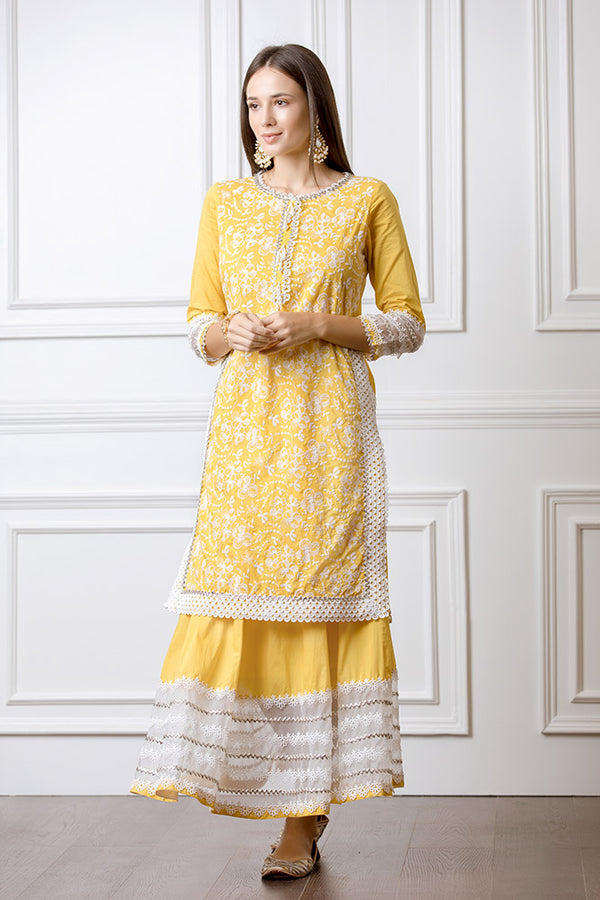 Mulmul Flora Mango Kurta with Gota Skirt