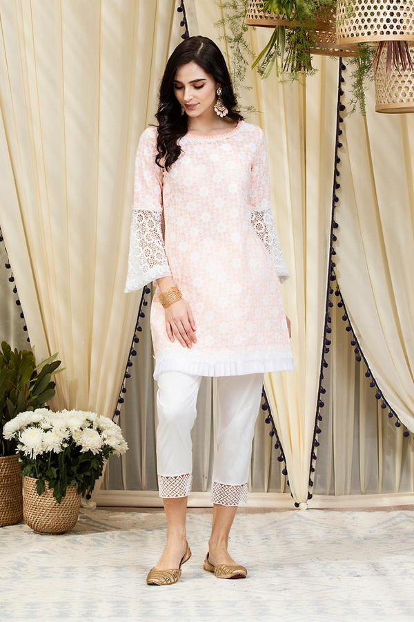 Mulmul Cotton Nova Kurta With Fern Cotton Pants