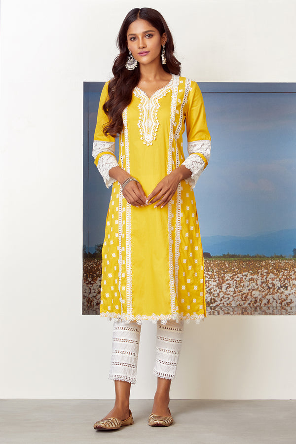 Mulmul Cotton Poetry Kurta With Ladder Lace Pant