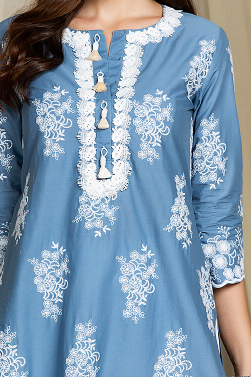 Mulmul Cotton Perla Kurta With Double Lace Pants