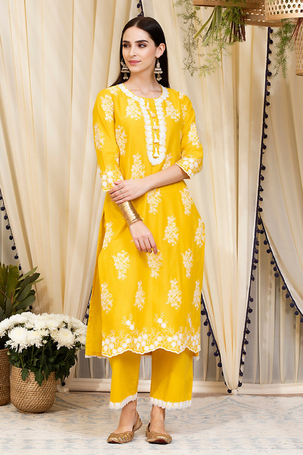 Mulmul Cotton Perla Kurta With Perla Pants