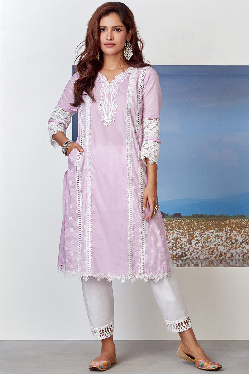Mulmul Cotton Poetry Kurta With Slim Salwar