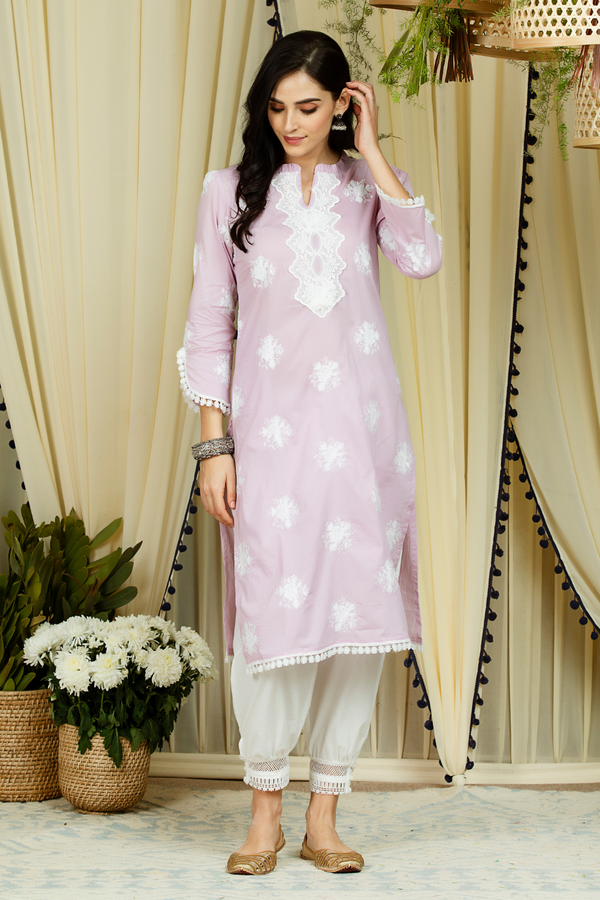 Mulmul Cotton Rosana Kurta With Harem Pants