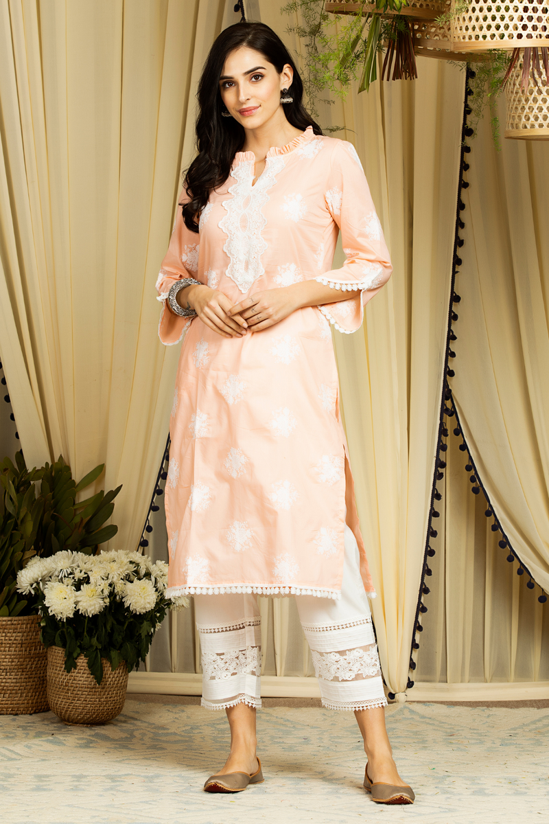 Mulmul Cotton Rosana Kurta With new pintuck Pants