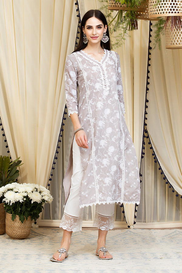 Mulmul Cotton Rosetta Kurta  With Embroidered Organza Pants