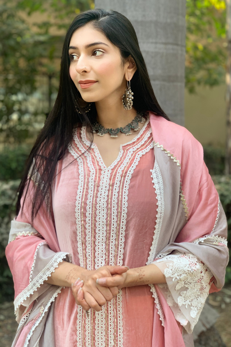 Makhmal Teak Kurta with Front Pleated Pant