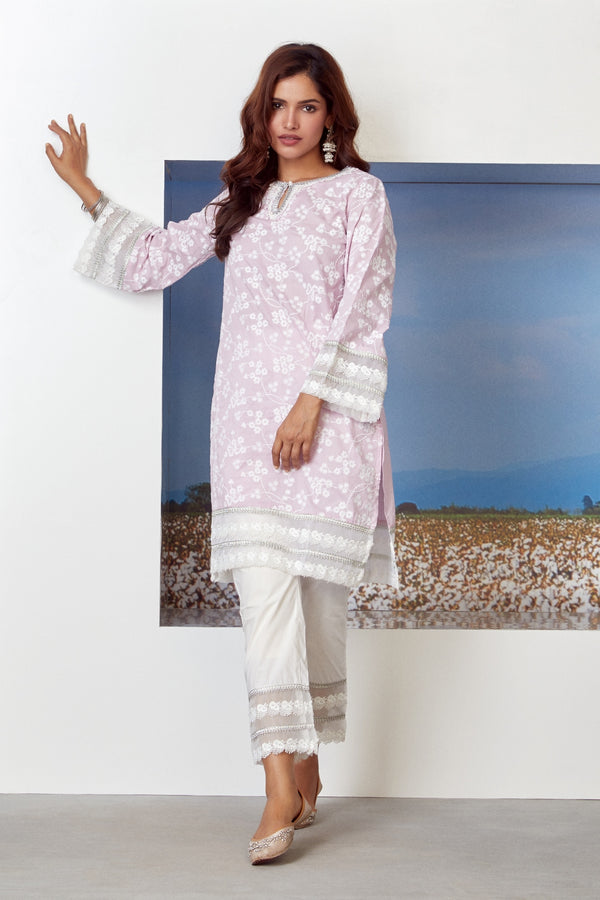 Mulmul Cotton Viva Kurta With Gota Multi Lace Pants