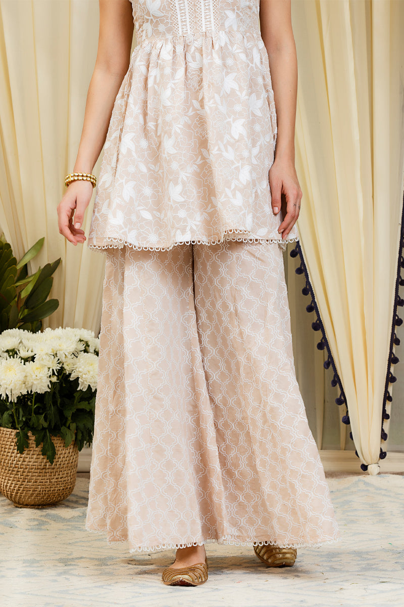 Mulmul Magnolia Beige Kurta with Embroidered Sharara