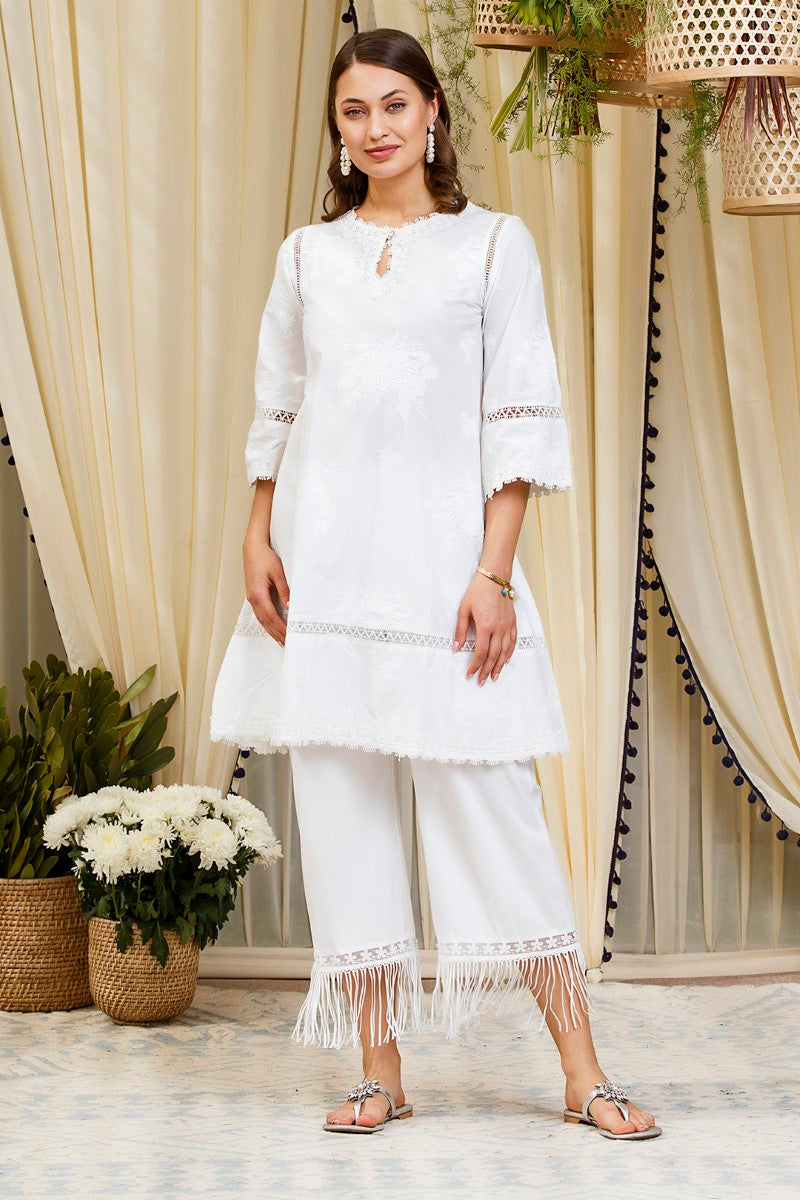 Mulmul cotton Sunflower kurta with new poppy  pants