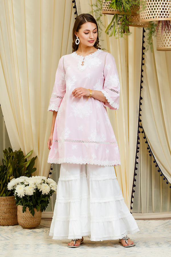 Mulmul Sunflower Pink Kurta with Garara