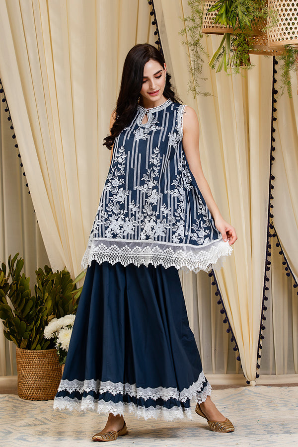 Mulmul Blossom Navy Kurti with Blossom Sharara