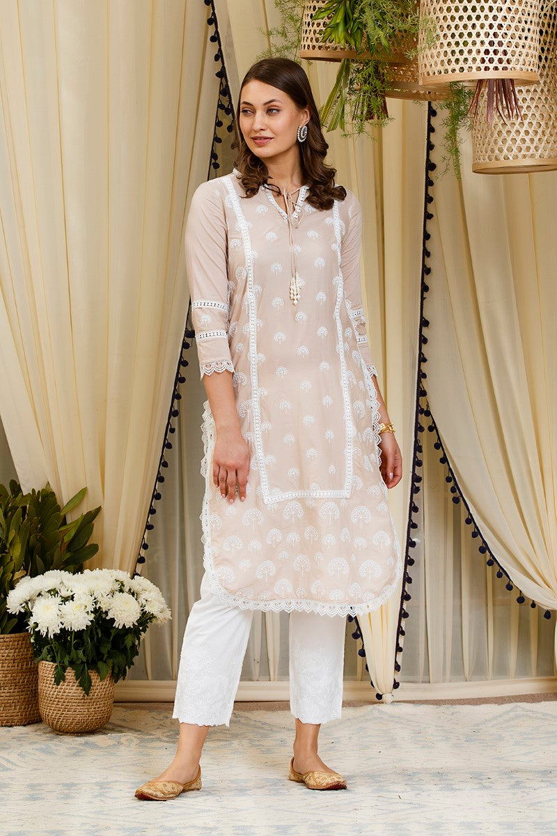 Snowdrop kurta with floral embroidered pyajamas