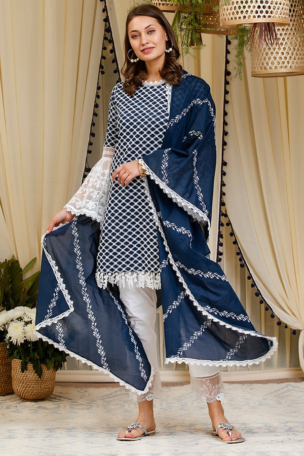 Diagonal Embroidered Dupatta