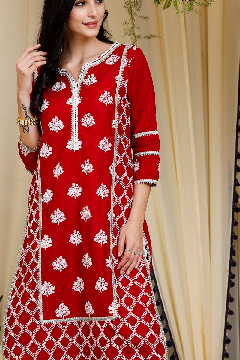Mulmul cotton Senna  kurta with gota daigonal pyajamas