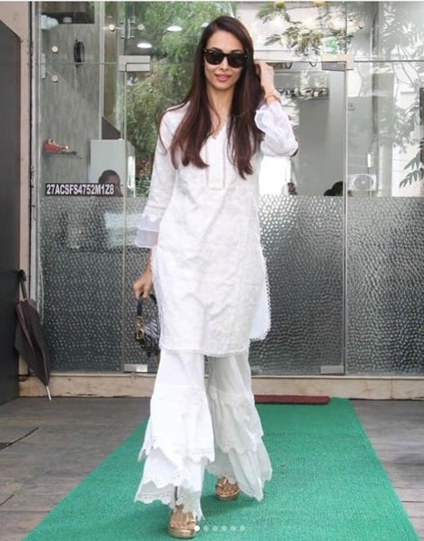 Mulmul Daisy White Kurta with Lace Garara