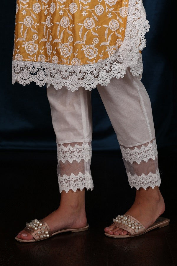 DOUBLE LACE PYAJAMA (WHITE)