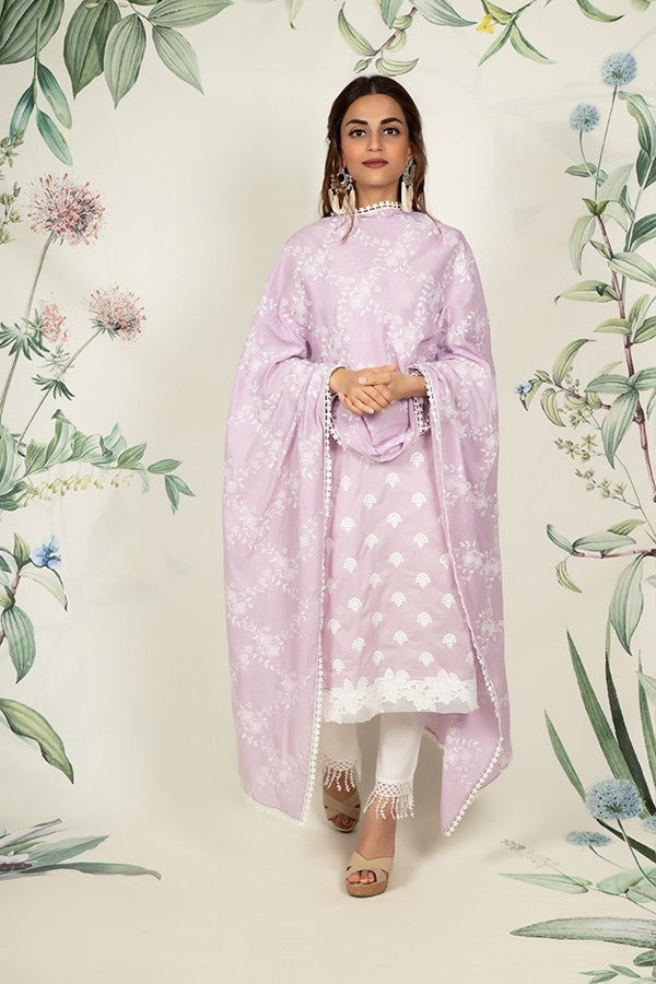 Diamond Embroidered Lilac Dupatta (LILAC)