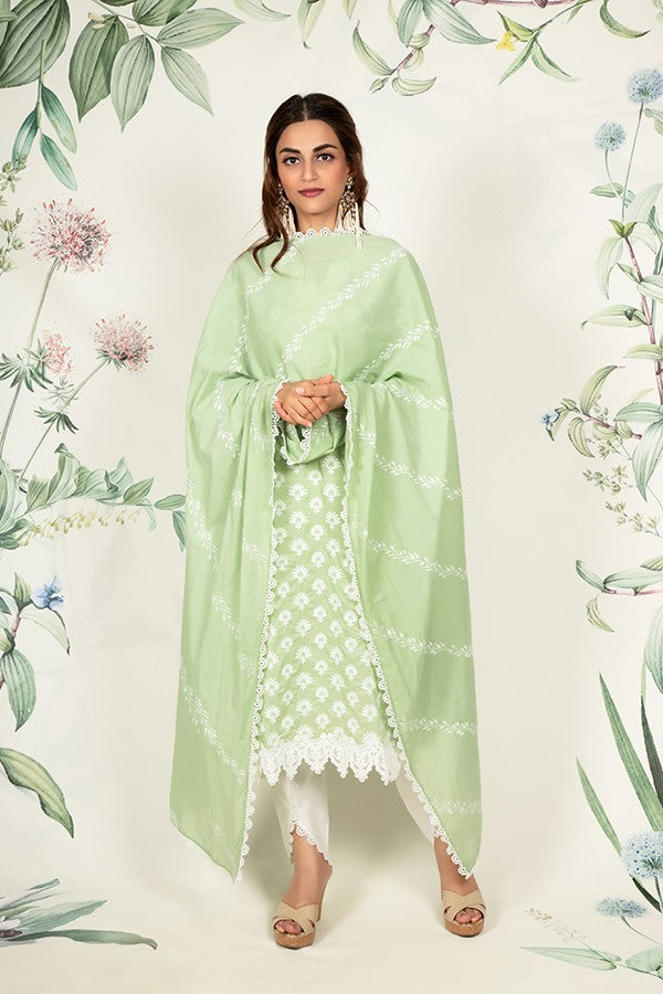 DAIGONAL EMBROIDERED CHUNNI (GREEN)