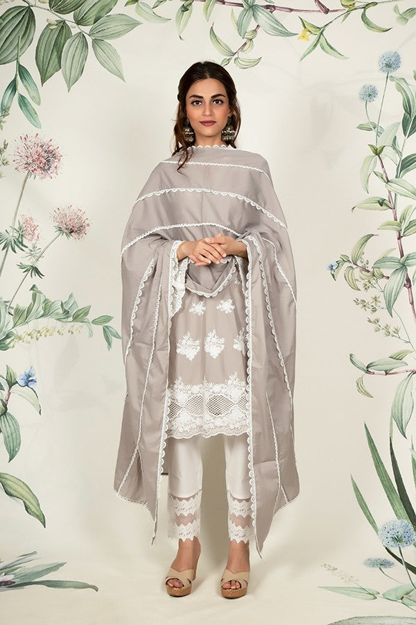 Big Small Scallop Dupatta (GREY)