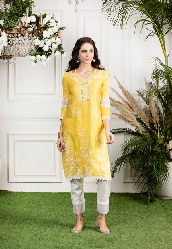 Mulmul Silk Morning Glory Kurta with Slim Organza Pyajamas