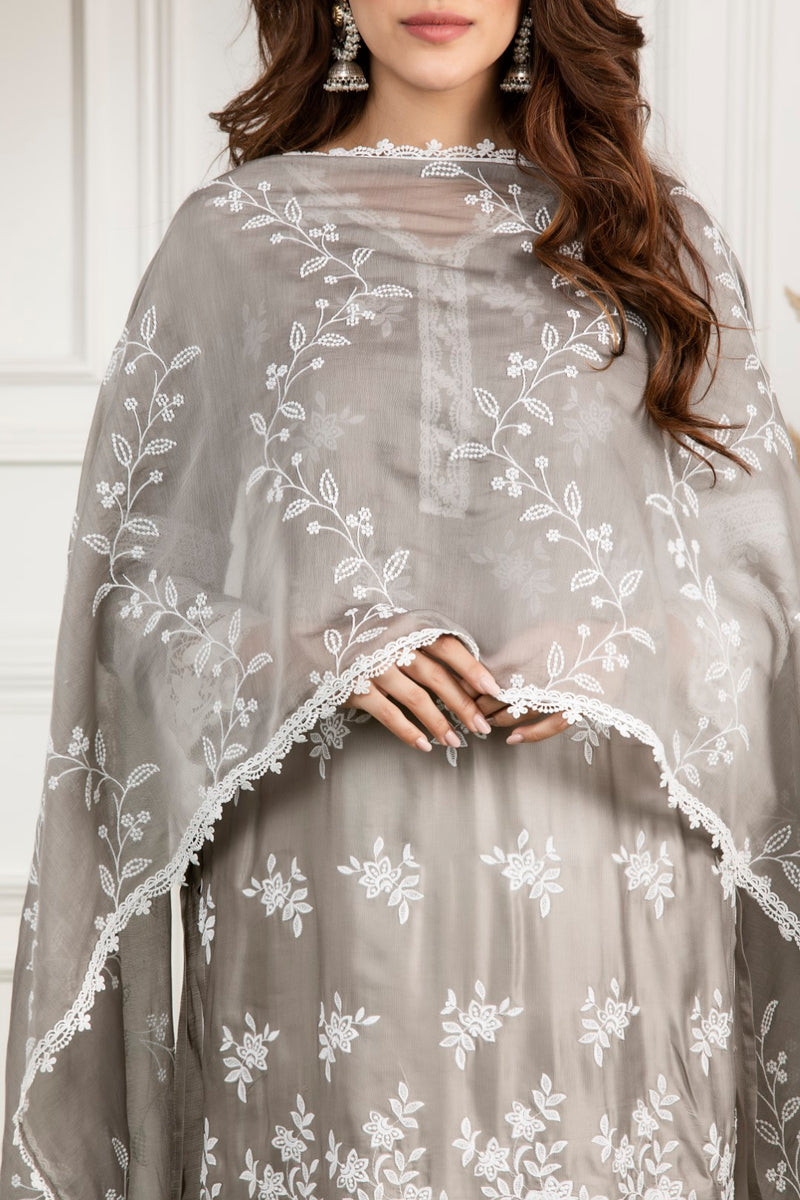 Embroidered Bel Chanderi Dupatta