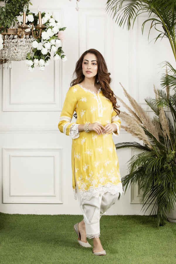 Mulmul Silk  Honey Cup Kurta with Front Pleated Pyjamas