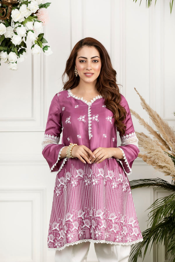 Mulmul Silk Rosemallow Kurta with Front Pleated Pyjamas