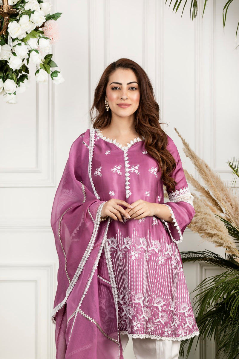 Mulmul Rosemallow Kurta with Front Pleated Pyjamas