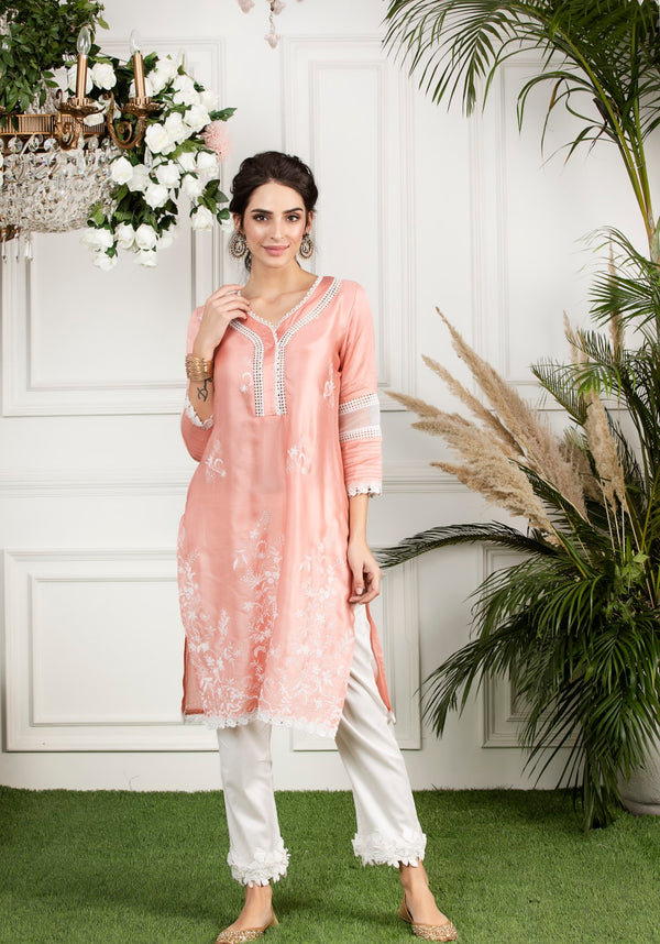 Mulmul Silk Morning Glory Kurta with Hibiscus cotton Pyajamas